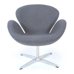 Kardiel Swan Chair, Cadet Grey Tweed Cashmere Wool - The Swan Chair was originally designed in 1958 by Danish designer and architect Arne Jacobsen for use throughout the Amsterdam Royal Hotel. The Swan Chair is an example of a classic furniture design inspired by the movement to adapt organic forms into our interior spaces. Appropriate to its name, the chair resembles an artful representation of the largest native North American bird, the trumpeter swan. The Swan Chairs distinguished shape was created by omitting all straight lines from its design curved surfaces. The elegant shape is generous for lounging yet has an minimal airy appearance. This chair is not made by Fritz Hansen. We have no affiliation with Fritz Hansen. The swan chair is the perfect choice for a seating option when you want to incorporate into your spaces a modern classic organic flowing shape. This classic icon is not only a work of art, it is minimal in design, adding a single chair to an existing group or grouping several chairs together easily creates an interesting conversation and entertaining area. Mix or match the colors. This highly accurate reproduction of the original Swan Chair features the finest in materials. The best materials are used. From the molding of the cold pressed foam around the fiberglass shell to every stitch, each of our reproduction Swan Chairs are thoughtfully crafted by hand.