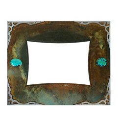 Ironwood - Rustic Turquoise and Brushed Iron Picture Frame, 5x7 - Our  iron  metal  frame  with  5x7  opening  in  made  in  oxidized  metal  and  embellished  with  a  turquoise  stone  overlay.  Perfect  for  favorite  photos,  this  frame  is  a  beautiful  piece  of  art  work.  Display  photos  of  special  memories  and  special  people  in  a  rustic  metal,  frame.   Made  in  the  USA,  this  Rustic  metal  Picture  Frame  includes  glass,  backing  and  hanging  hardware.