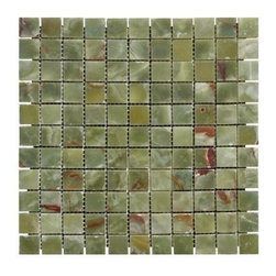 "MS International - MS International 1""x1"" Green Polished Onyx Mesh-Mounted Mosaic Tile - 5 Sheets - An ideal choice for your space, the MS International 1 in. x 1 in. Green Polished Onyx Mesh-Mounted Mosaic Tile is designed for floor, wall and countertop use. This beautiful onyx tile is suitable for both residential and commercial use and features a green color with a random variation in tone to help brighten your decor. Certified by the Marble Institute of America, this onyx tile features a smooth, high-sheen finish and is marginally skid resistant to suit your needs."