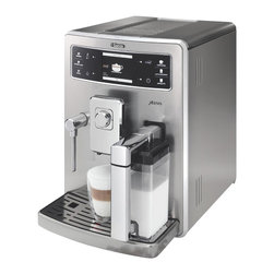 Saeco - Xelsis Automatic Espresso Machine - Ergonomic design. Adjustable built-in ceramic disc grinder. Automatic shut-off. Safe quiet and long lasting. Protective coffee bean hopper. Air tight sealed lid with anti-UV coating keeps beans fresh at all times. Multi-function and multi-user. Six one-touch beverages can be personalized by six different users. Wide, easy-to-read display allows one-touch functionality and intuitive handling. Saeco brewing system allows to choose strength and consistency of coffee by turning dial. External milk carafe container automatically froths milk into cup. Automatic cleaning cycle keeps machine perfectly clean at all times. Integrated water tank and bean hopper are easily accessible from top of machine. Removable 3.37 lbs. water tank intenza filter. Sliding wheel base for convenient rotation. Removable metal drip tray hold cups. Programmable on, off and long pre-brewing cycle injects hot water into ground coffee to maximize flavor extraction. Easy to clean. UL listed. Power: 1500 Watts - 120 Volts. Silver color. Made in Italy. No assembly required. 11 in. W x 14.5 in. D x 16.5 in. H (37.5 lbs.)Automatic Espresso Machine hot water dispensed for tea, hot chocolate and other beverages. Milk can also be frothed manually.