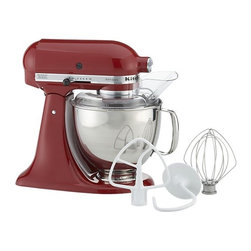 KitchenAid® Artisan Red Stand Mixer - Heavy-duty mixing in gleaming red with KitchenAid® power and planetary mixing action that spirals the beater to 67 touch points within the bowl for quick and complete mixing. Powerful motor handles heavy mixtures while the rugged transmission ensures constant power as the load increases. Ten-speed control provides settings from very slow to high. Stainless bowl with ergonomic handle locks into the base; easy-install two-piece pouring shield facilitates easy addition of ingredients.
