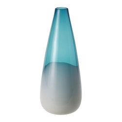 Blue Dipped Vase, Large - I can see this beautiful dipped blue vase as the center of attention in a spa-like bathroom. It has such relaxing colors.
