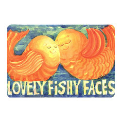 Caroline's Treasures - Fish - Kissing Fish Kitchen Or Bath Mat 20X30 - Kitchen or Bath COMFORT FLOOR MAT This mat is 20 inch by 30 inch.  Comfort Mat / Carpet / Rug that is Made and Printed in the USA. A foam cushion is attached to the bottom of the mat for comfort when standing. The mat has been permenantly dyed for moderate traffic. Durable and fade resistant. The back of the mat is rubber backed to keep the mat from slipping on a smooth floor. Use pressure and water from garden hose or power washer to clean the mat.  Vacuuming only with the hard wood floor setting, as to not pull up the knap of the felt.   Avoid soap or cleaner that produces suds when cleaning.  It will be difficult to get the suds out of the mat.