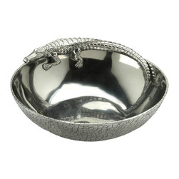 "Arthur Court - Alligator Figural 12"" Bowl - Add some fierce reptile style to your decor. You can fill this 12-inch aluminum bowl with fruit, chips, whatever you please at your next party—or simply  leave out on display."