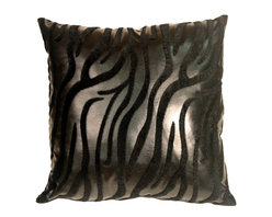Pillow Decor - Pillow Decor - Black Tiger Square Faux Fur Throw Pillow - This throw pillow is a must have in any contemporary home. It is bold, daring and full of texture. If you like animal prints, you'll love this pillow. The base of the pillow is a black faux leather and the stripes are a raised faux fur, also in a deep black. Place these on a modern piece of furniture for a masculine touch.