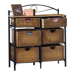 "Holly & Martin - Holly & Martin Lillian Iron/Wicker Storage Ch - Both handsome and tropical, this wicker double storage cabinet can be an inspiring addition to bedrooms or can serve as a dining buffet. Six woven rattan drawers are situated within a tubular steel frame with easy access, open styled handles. Stylish and easy to access, this attractive storage cabinet features the sturdiness of a black steel frame combined with the charm of six wicker drawers, two smaller ones and four larger ones. Its modern design exudes a very casual and friendly sense of placement. This 34"" wide and 38�_"" tall storage unit has four large and two small drawers mounted within sturdy black tubular steel frame. * Steel frameFour Large drawers, two small drawers. 34""W x 13""D x 38.5""H. The four lower baskets measure 14.25 in. W x 11 in. D x 8.75 in. tall making them perfect for blankets, clothes, or even pots and pans. The top two drawers are the same width and depth, but only 5 in. tall allowing for storage of sheets, magazine, or silverware"