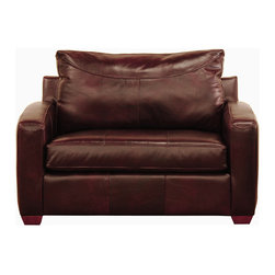 Savvy - Boulder Leather Chair Sleeper Sofa in Chesterfield Merlot - Boulder Leather Chair Sleeper Sofa in Chesterfield Merlot