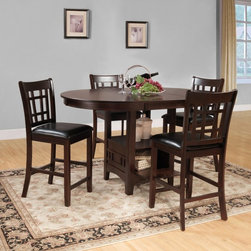 Homelegance - Homelegance Junipero 5-Piece Counter Height Dining Table Set - Cherry Multicolor - Shop for Dining Sets from Hayneedle.com! Add a hint of early 20th century design appeal to your dining space with this Homelegance Junipero 5-Piece Counter Height Dining Table Set Cherry. Crafted from quality rubberwood this set features a sturdily built oval table and four dining chairs upholstered in smooth vinyl material. It even includes storage access behind the drop-panel door of the table to display extra dishware.Dimensions:Table: 60L x 42W x 36H in.Chairs: 18W x 20D x 41H in.About Homelegance Inc.Homelegance takes pride in offering only the highest quality home furnishings that incorporate innovative design at the best value. From dining sets to mirrors sofas and accessories Homelegance strives to provide customers with a wide breadth and depth of selection as well as the most complete and satisfying service available for their category. Homelegance distribution centers are conveniently located throughout the United States and Canada.