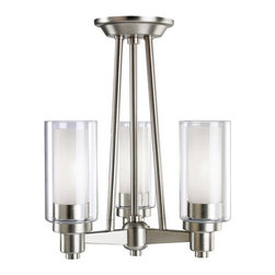 Kichler - Kichler 3743NI Circolo 3 Light Semi-Flush Indoor Ceiling Fixture - Smooth and tailored, this compact, 3-light Circolo�� semi flush fixture combines contemporary design with European flair. Clear cylindrical glass globes with Etched Glass centers repeat the circular theme extending the artistry. A stylish Brushed Nickel or Olde Bronze� finish complete the look.
