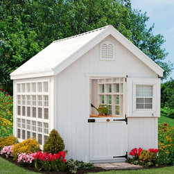 Little Cottage - Little Cottage 8 x 16 ft. Colonial Gable Greenhouse with Optional Floor Kit - FK - Shop for Greenhouses from Hayneedle.com! Crafted from wood the Little Cottage 8 x 16 ft. Colonial Gable Greenhouse with Optional Floor Kit is not only a beautiful addition to your backyard but also the perfect place to enjoy your love of gardening. With 128 square feet of space you'll have more than enough room for flowers greenery and your favorite fruits and vegetables. Made to be beautiful and charming as well functional you'll enjoy the peace and serenity of being surrounded by living plants. This colonial style greenhouse features Dutch doors with windows colonials hinges and latched door latch. The Dutch door style also allows you to add ventilation to your greenhouse without having to worry about little critters finding their way in. This greenhouse features a Sunsky corrugated polycarbonate roof which helps to properly direct sunlight for your plants as well as panelized wall sections for easy installation. The straight trim is pre-fastened to the panels adding to the ease of assembly. The exterior trim and siding is 98% pre-primed while the interior is unprimed. This greenhouse also features 25 single hung working windows with screens so you can let the air in without the bugs as well as 12 transom windows. Shelving on three sides of this greenhouse gives you additional room for plants and a work space. This greenhouse includes the hardware for assembly as well as a one year warranty on parts. You also have the option of adding on a floor kit.Additional FeaturesDoor dimensions: 34W x 72H inchesSidewall height: 6.4 feetPeak Height: 9.25 feetTotal square feet: 128Sunsky corrugated polycarbonate roofWall sections are panelized for easy installationStraight trim is pre-fastened to the panelsArrives precut and ready to assembleDurable composite corner trim98% pre-primed exterior trim and sidingUnprimed interiorIncludes 25 single hung working windows with screensIn