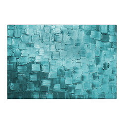 Matthew's Art Gallery - Oil Painting Abstract Heavy Texture Light Blue Squares - The Painting:  Light Blue Squares