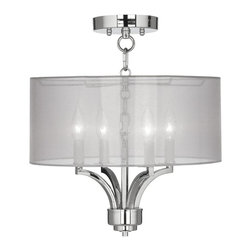 """Lamps Plus - Traditional Fortuna Chrome 16"""" Wide Sheer Silver Ceiling Light - The Fortuna semi-flushmount ceiling light comes in a chic chrome finish and has four candelabra style lights. The design offers the classic look of a chandelier and is updated with a stylish designer sheer silver drum shade. A wonderfully refreshing designer look for your living space.  Chrome finish. Sheer silver drum shade. Semi-flushmount ceiling light. Takes four 40 watt candelabra bulbs (not included). 15"""" high. Chandelier only is 13"""" wide 9"""" high. Shade is 16"""" wide 7"""" high. Canopy is 5 1/2"""" wide. Some assembly required; instructions included.  Chrome finish.  Sheer silver drum shade.  Semi-flushmount ceiling light.  Takes four 40 watt candelabra bulbs (not included).  15"""" high.  Chandelier only is 13"""" wide 9"""" high.  Shade is 16"""" wide 7"""" high.  Canopy is 5 1/2"""" wide.  Some assembly required; instructions included."""