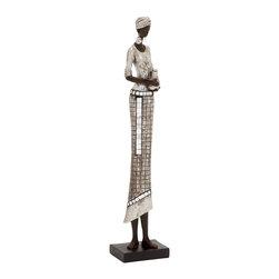 Artistically Unique Polystone African Lady - Description: