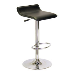 Winsome Wood - Winsome Wood Single Airlift Swivel Stool w/ Black Faux Leather Seat - Airlift Swivel Stool w/ Black Faux Leather Seat belongs to Spectrum Collection by Winsome Wood Comfy contoured Faux leather seat. Adjustable height from 24.8-33.1. Metal foot bar and base. Airlift with handle on side makes adjustment easy. Barstool (1)