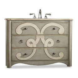 "Cole & Co. - Cole & Co. 48"" Designer Series Collection Chamberlain Sink Chest - Parchment - Cole & Company combines great design with great flexibility, allowing you to mix and match size, finish, and style to create your own perfect bathroom vanity. A bold artistic motif adorns the Chamberlain Sink Chest. The three drawers are lined with a lovely wallpaper. The two styles of pulls are finished in an antiqued pewter. Two of the three drawers can be used for storage. The Chamberlain is constructed of hardwood solids and veneers. Your Cole & Co. quality vanity is a significant investment expected to last for generations. To maintain its beauty and help it last, please refer to the Custom Collection product information sheet and the Care & Cleaning FAQ. Each piece is handmade and finished and actual color may vary. Information regarding the return policy of your Cole & Co. product is available here. If you have any questions, please contact us before ordering. Features: Completely hand made Sage with Parchment accents Two of the three drawers can be used for storage 48""W x 20""D x 34.25""H Faucet(s) not included Sink(s) not included How to handle your counter View Spec Sheet"