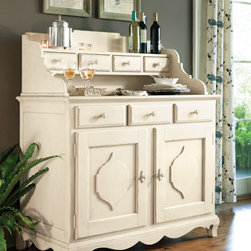 """Universal Furniture - Paula Deen Sideboard and Hutch in Linen - For a simple, open hutch area you'll be interested in the Paula Deen Sideboard and Hutch from Universal Furniture.  Inspired by the """"low country"""" - from Charleston down to Ms. Deen's hometown of Savannah - this charming sideboard and hutch combine basic storage with southern style.  The hutch features a display shelf and 4 drawers, while the buffet has two doors, 3 drawers, wine storage, a wine cooler, and a power outlet. In a linen finish, this sideboard and hutch is a breath of fresh air."""