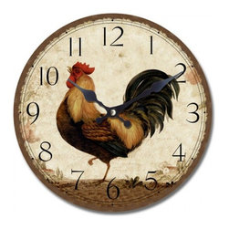 YOSEMITE HOME DECOR - 13.5 in. Circular Wooden Wall Clock rooster print - You'll be up with the chickens and crowing about it with this country-style wall clock with proud rooster on display. Hang it in your kitchen for a charming accent to your decor.
