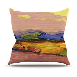 """KESS InHouse - Jeff Ferst """"Pastoral View"""" Multicolor Painting Throw Pillow, Outdoor, 16""""x16"""" - Decorate your backyard, patio or even take it on a picnic with the Kess Inhouse outdoor throw pillow! Complete your backyard by adding unique artwork, patterns, illustrations and colors! Be the envy of your neighbors and friends with this long lasting outdoor artistic and innovative pillow. These pillows are printed on both sides for added pizzazz!"""
