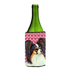 Caroline's Treasures - Papillon Hearts Love and Valentine's Day Portrait Wine Bottle Koozie Hugger - Papillon Hearts Love and Valentine's Day Portrait Wine Bottle Koozie Hugger Fits 750 ml. wine or other beverage bottles. Fits 24 oz. cans or pint bottles. Great collapsible koozie for large cans of beer, Energy Drinks or large Iced Tea beverages. Great to keep track of your beverage and add a bit of flair to a gathering. Wash the hugger in your washing machine. Design will not come off.