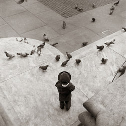 """""""Boy And Pigeons, New York Public Library"""" Artwork - The """"boy and pigeons, new york public library"""" was taken at the fifth avenue entrance. i reacted to his small stature and the pensive quiet way that he looked at the pigeons. the marble and stone that surrounds him emphasizes the smallness and possible fragility of the child. the image is printed on 13"""" x 19"""" fine art baryta paper with the live image measuring 10.1""""w x 10.0""""h."""