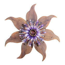 Souvenir Farm, Ltd. - Barn Wood Flower Accent With Reclaimed Metal Center - Add a punch of purple and a touch of handmade hominess to your wall with this reclaimed wood wreath. Charming and cheerful, it comes ready to hang — and turn heads.