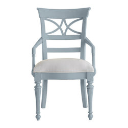 Stanley-Coastal Living - Sea Watch Arm Chair - The beautiful Sea Watch Arm Chair from Stanley Coastal Living is sure to create the perfect dining set for your home. Tapered front legs and a delicate cutout back create a distinctive coastal-cottage look that instantly adds chic style to your dining space. Seaworthy blue and green stripes cover the super comfort upholstered seat, while a painted periwinkle finish coats the hardwood solids of this unique chair; perfect for everyday use in a kitchen or a formal dining room.