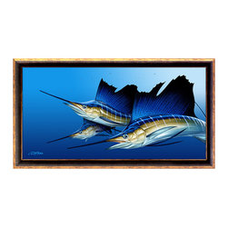"Dennis Friel Art Studios, LLC - Triple by Dennis Friel – Framed Canvas Print, Antique Black Gold, 30"" X 15"" - Three sailfish on the hunt and in pursuit of their next feast. This amazing piece is guaranteed to enhance any space in which it's destined to dwell. Beautifully illustrated, it was the recipient of the 2012 Marlin Magazine annual art gallery's Reader's Choice Award. The canvas giclee comes framed in three very unique dimensions. Not all frames available for every size."