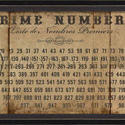 """Origin Crafts - Prime numbers on white framed print 13"""" x 26"""" - Prime Numbers on White Framed Print 13"""" x 26"""" Wood Framed Print with Glass Front. Framed artwork is printed on high resolution acid-free art paper. Dimensions (in):12 7/8"""" x 25 7/8"""" By Spicher and Company - Spicher and Company is a leading manufacturer of framed artwork in many themes. Print is"""
