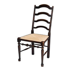 """Sarreid Ltd - Pair of Dining Side Chairs - A set of 2 solid mahogany """"Ladderback"""" carved dining chairs in the English 18th century Country House style will give your dining table comfort and warmth, secondary to a great meal, of course. Authentic features include five horizontal splats, a rush seat , turned legs, pad feed and stretchers. Ebonized highlighted walnut finish. (SA)"""