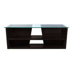 Temahome - Temahome Oliva Tv Bench, Wenge, 43In - Furniture featuring a glass top that highlights the dynamic diagonal elements below.