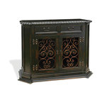 Virrey Small Buffet, Natural Stain Distressed with Scrolls - Virrey Small Buffet, Natural Stain Distressed with Scrolls