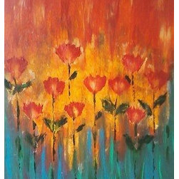 Poppin Up Poppies (Original) by Dee Colucci - Sleepless nights, vibrant colors and my favorite flowers in mind brought this piece to life. I paint to either a movie or song when I paint abstracts...this one was created to a list of happy tunes that made me dance around the room as I laid my colors down! :) In the end I took a wet paper towel and removed some paint from the center of the Poppies to give it that faded look! :)