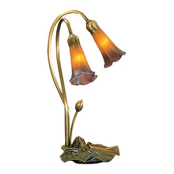 Meyda Tiffany - 7 in. 2-Light Pond Lily Accent Lamp - Requires two 15 watt candelabra type bulbs. Lily shades are suspended from stems delicately winding above mahogany bronze lily pads base. Victorian mouth blown of fine art glass shade. 9 in. L x 7 in. W x 16 in. H. Care InstructionsOne of the most popular Louis comfort tiffany styled lamps on the market today, recreating his famous favorite design from the early 1900's. This softly mottled two light offers an attractive, delicate design. Every Meyda tiffany item is a unique, handcrafted work of art. Natural variations, in the wide array of materials that we use to create each Meyda product, make every item a masterpiece of its own.
