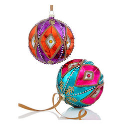 Holiday Lane Set of Glass Ball Ornaments - I love the colors and the unique design on these ornaments.