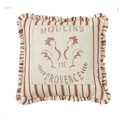 Homeware Decorative Accent Pillows - 20x20 Rooster Pillow w/Red Ticking Mini Ruffle
