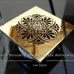 Designer Drains Collection - Designer Drains shower drain, Greek Anthemion motif, 24k gold. Made as replacement for Zurn drains.