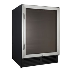 Avanti - 5.0 Cubic Foot Glass Door Refrigerator - This 5.0 Cubic Foot Glass Door Refrigerator features electronic control and display for monitoring temperature,stainless steel door frame,double pane tempered reversible glass door,and long life LED interior display lighting with on/off switch.