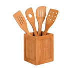 Honey Can Do - Bamboo Utensils And Kitchen Caddy - Bamboo and a bamboo veneer utensil holder. 4 utensils in a bamboo caddy