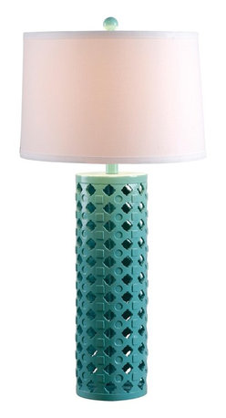 Kenroy - Kenroy KR-32272TEAL Marrakesh Table Lamp - Marrakesh showcases its Moroccan spirit in a pattern of indents and inlay adorning an openwork cylindrical base.  Available in 2 contrasting finishes.