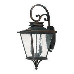 Capital Lighting - Capital Lighting 9462OB Gentry 2 Light Outdoor Wall Sconce - Featuring a traditional geometric lantern design, this appealing two light large outdoor wall sconce is supported by a decorative curled metal arm.