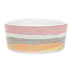 waggo - Watercolor Dog Bowl, Sunrise - Get ready for day of night with this heavy ceramic dog dish!