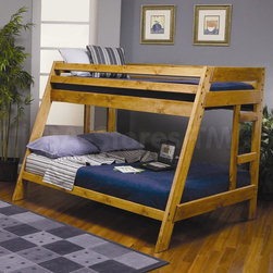 Twin over Full Bunk Bed - Whether you have children who share a room or you are looking for a fun, youthful style, this twin over full bunk bed will make a great addition to your home. The solid pine construction offers durability, while full length guard rails provide safety and a built-in ladder allows for easy access to the top twin bunk. The relaxed features will blend perfectly with any casual decor and will create a refreshing look in your children's bedroom.