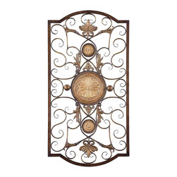 """Uttermost - Uttermost Micayla Large Wall Art 1 x 22 x 42"""", Chestnut Brown - This decorative wall art is made of hand forged and hand embossed metal. The finish is distressed, chestnut brown with burnished edges and antiqued gold details.Designer: Grace FeyockDimensions: 1"""" depth by 22"""" width by 42"""" heightMaterial: metal"""