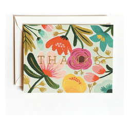Gold Floral Thank-You Card - Send springtime-style snail mail with Rifle Paper's gold floral stationery.