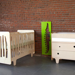 Funky Forest Collection - This innovative crib captures the funky nature of the forest in all its asymmetry and irregularity, creating a mini-ecosystem in your nursery. It is made of highly durable NAUF (no added urea formaldehyde) multi-ply birch wood. The finishes are non-toxic, water-based wood stain.