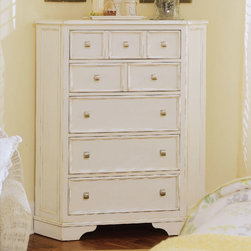 American Drew - American Drew Camden-Light Corner Chest in White Painted - The Camden-Light Collection melds simple forms with quiet traditional references  gentle curves and a beautiful time worn ivory finish that lets the character of the wood show through. The brushed nickel finish hardware adds even more character to the Camden collection. This line will work great in your renovated farm house or a smaller beach cottage get-away.