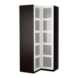IKEA of Sweden/K Hagberg/M Hagberg - PAX Corner wardrobe - Corner wardrobe, black-brown, Bergsbo glass/white