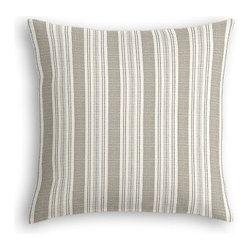 Gray & Ivory Handwoven Stripe Custom Euro Sham - The secret to those perfectly made beds you eye in magazines? Euro shams. Complete your bed set with a set of Simple Euro Shams for a look that's as stylish as it is snuggly.  We love it in this handwoven cotton feedsack stripe in gray that will take your rustic space from shabby to chic.