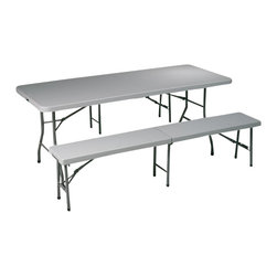 Office Star - Office Star 3-Piece Folding Table and Bench Set - Office Star - Patio Dining Sets - QT3965