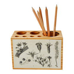 Botanical Desk Caddy - Clean up your workspace and organize your art supplies with a handmade desk caddy made from antique wood. The front is decoupaged with black and white botanical illustrations from the late 1800s. The block contains seven holes of various sizes for pens, pencils, paintbrushes and other small tools to help keep your work space in order.